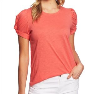 CeCe coral puff sleeve top
